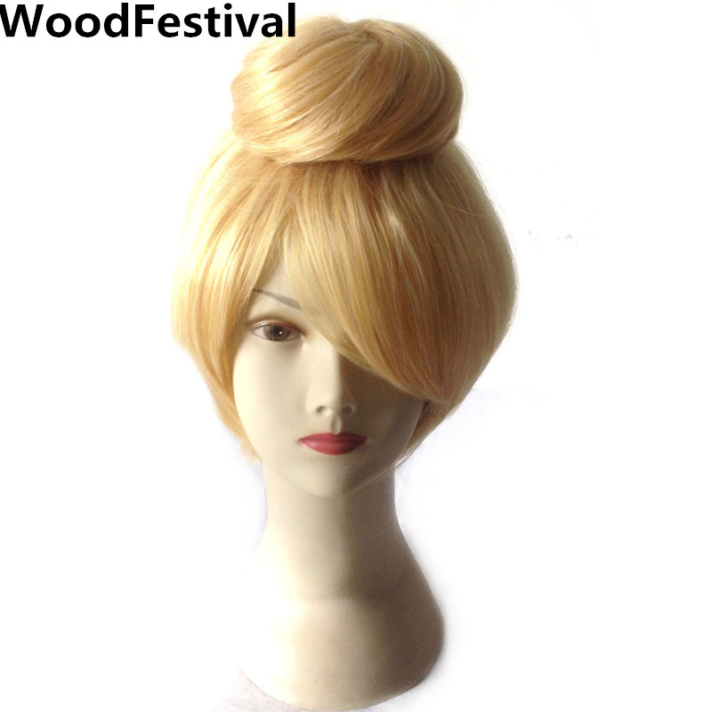 blonde short hair cosplay wig blond 30 cm straight fairy womens synthetic wigs heat resistant WoodFestival