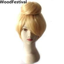 Блондинка короткие волосы косплей парик блондинка 30 см прямые фея женщин синтетические парики жаропрочных WoodFestival