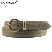 LA SPEZIA Leather Ring Belt Women Army Green Pin Buckle Jeans Female Circle Wasit Real Pigskin Ladies Brand Belts