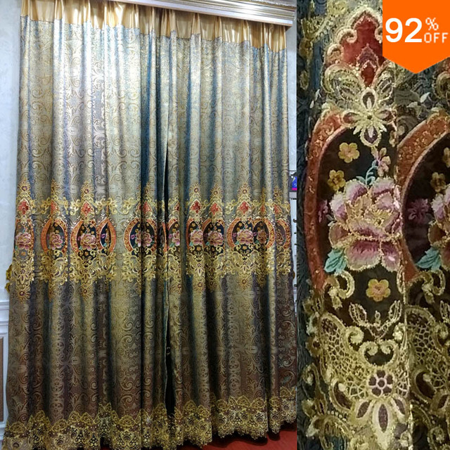 Silver Golden palace hall flowers Embroidery curtains Egypt's royal living room bedroom Curtain Dinning Room Hotel Hall Curtains