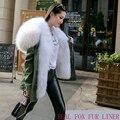 Corto de Lujo Gran Naturaleza Real Fox Cuello de piel de Mapache Con Capucha Mujeres Abrigo de Invierno Verde Del Ejército Forro Marca Parka Jacket Outwear