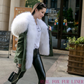 Short Luxury Big Nature Real Raccoon Fur Collar Hoodie Women Winter Coat Army Green Fox Liner Brand Parka Jacket Outwear
