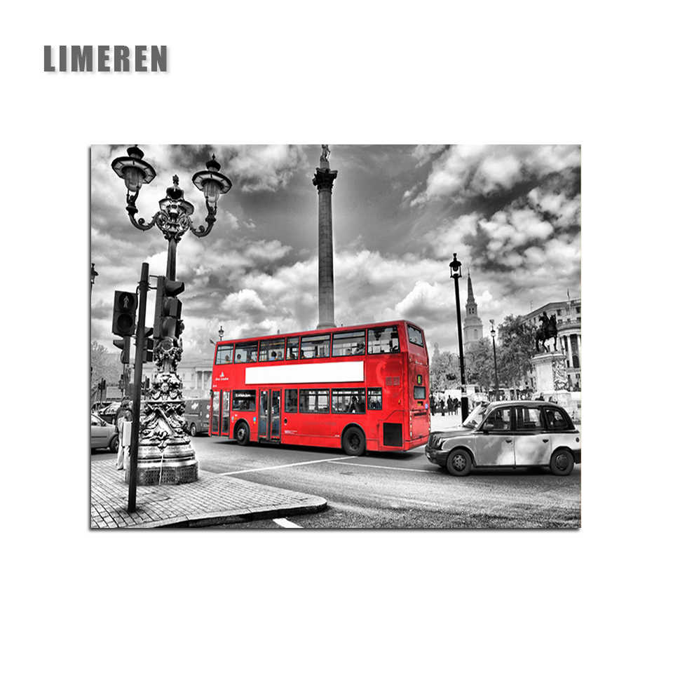 DIY Oil Coloring By Numbers London Streets Red Bus Picture Painting By Number On Canvas Home Decor Scenery Wall Art Frame