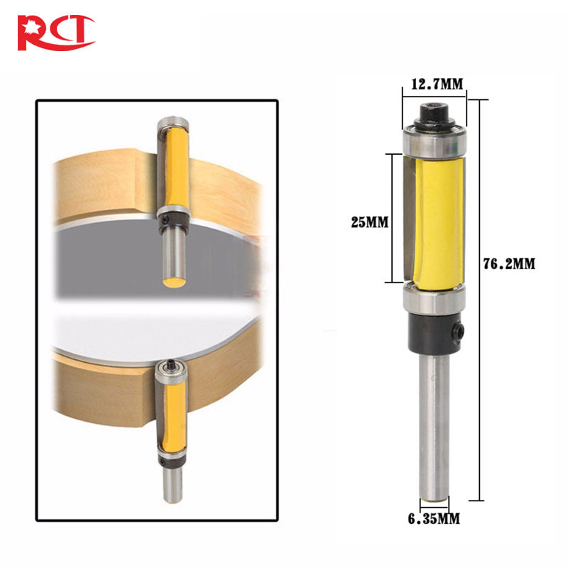 Pattern/Flush Trim Router Bit, 2-1/2 Cutter Top & Bottom Bearing 8mm shank flush trim pattern router bit panel top bottom bearing woodworking cutter straight trimming cutter router bit