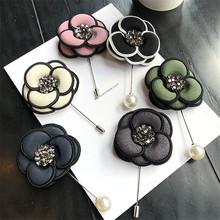 Korea New Handmade Modern Saturna Fabric Rhinestone Brooches Pins Badges Fashion Jewelry For Woman Accessories-YHGWBH019F