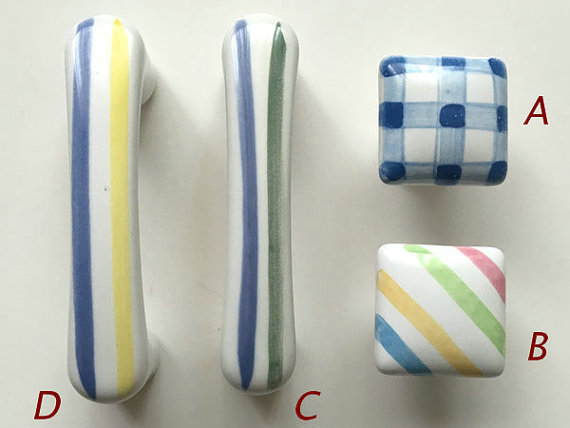 Attractive CATHERINE HOMES 3 Gingham Stripe Dresser Drawer Handles Ceramic Colorful  Cabinet Knobs Square Kids Decorative Pulls 76 Mm