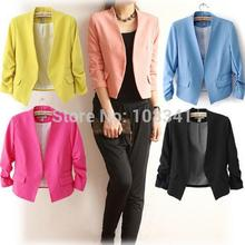 Solid Color Polyester Women Blazer Short Three Quarter Sleeve Suit Fashionable Outerwear Classic