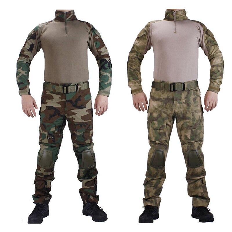 Vêtements de Camouflage de chasse uniforme militaire Multicam armée chemise de Combat uniforme pantalon tactique avec genouillères et coudières