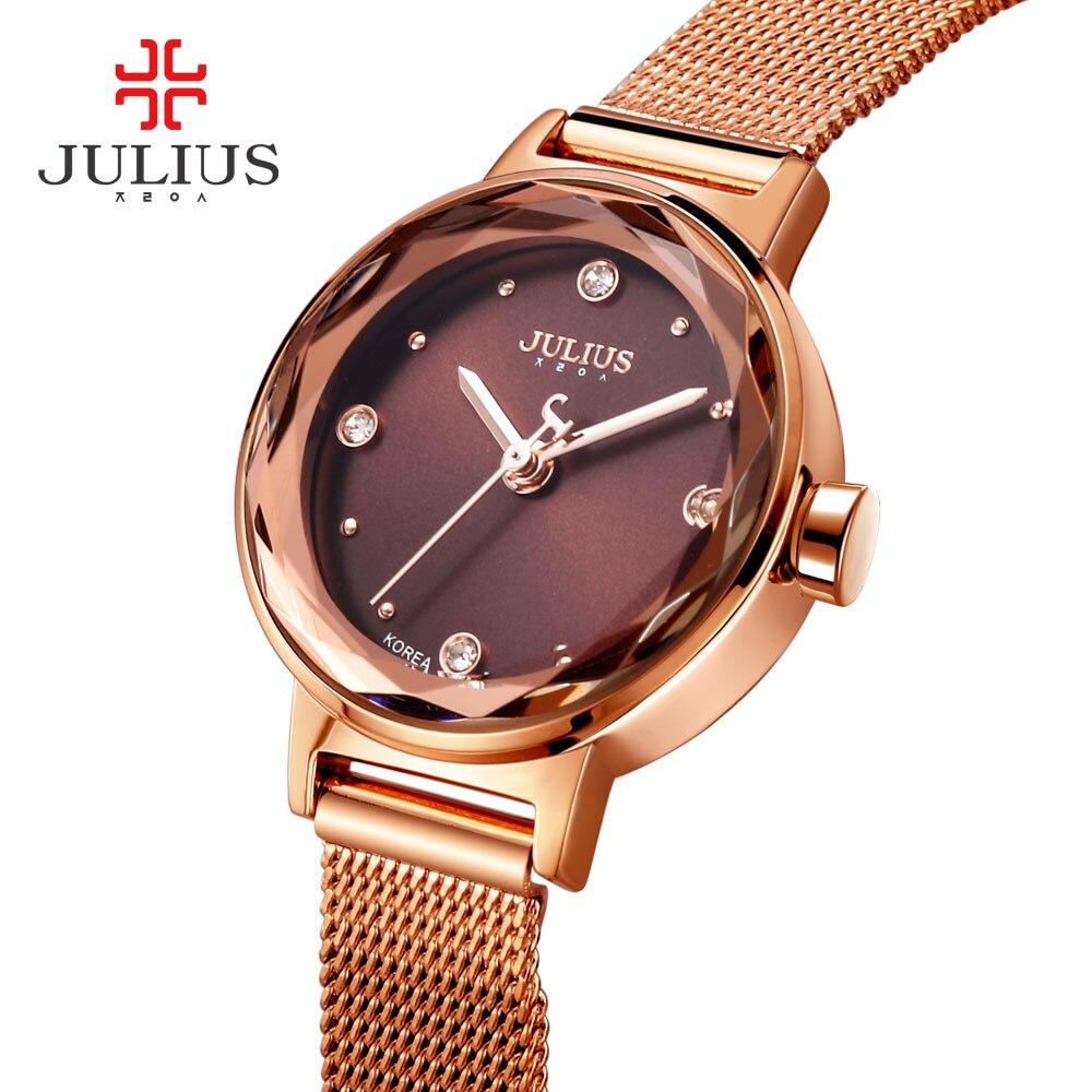 Prix pour 2017 Nouveau JULIUS Femmes Montre Top Marque Or Acier Maille Ceinture Bracelet Heure Horloge Montre Femme Reloj Mujer Erkek Kol Saati JA-917