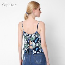 2017 New Summer Women Crop Tops Sexy Print Crochet Camis Sexy Spaghetti Strap Hollow Out Tassel Beach Tops Camisole