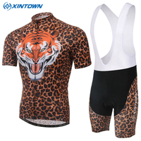 Ropa Ciclismo New Arrivals Leopard Breathable Full Zipper Short Sleeve Cycling Clothing Polyester Hombre MTB Bike