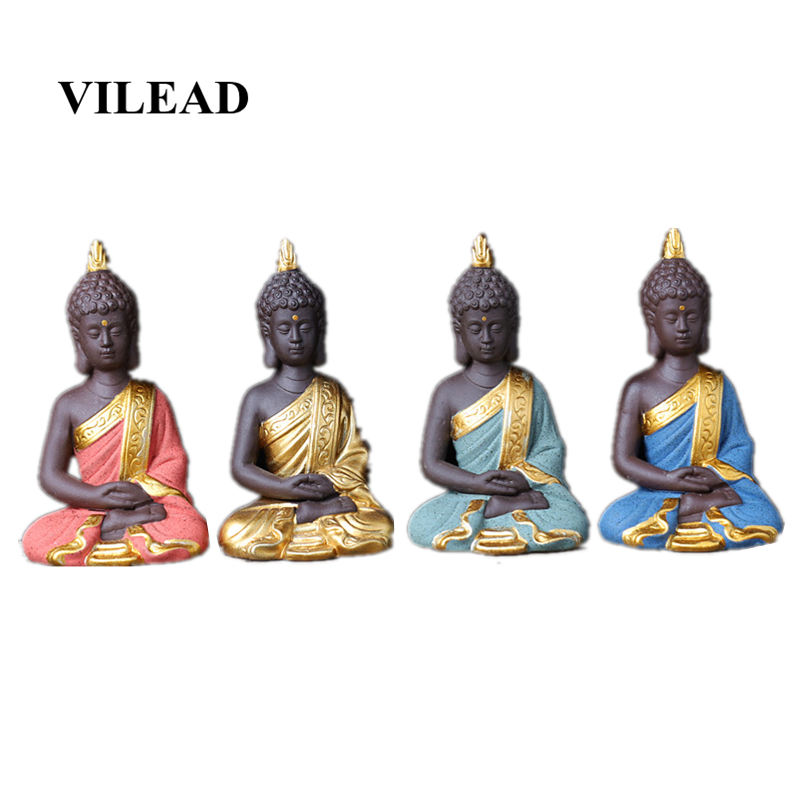 VILEAD 9cm Ceramic Sakyamuni Buddha Statuettes Creative Handmade Thiland Vintage Home Decor Ornament Home Decoration Accessories