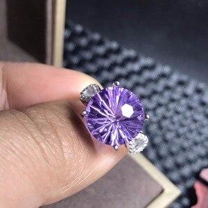 Кольцо с натуральным аметистом, красивый процесс резки, эффект цветущего фейерверка, серебро 925 пробы, тренд спереди
