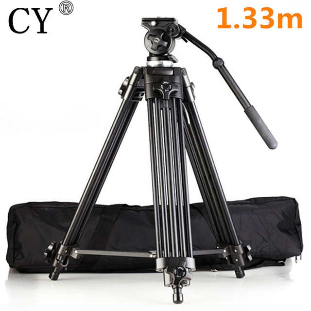 "High Quality Professional Aluminum Alloy EI717 1.33m 4'4"" Video Camera Tripod Fluid Pan Head Portable Camera Tripod Hot Selling"