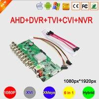 Красный спереди Панель 1080 P, 960 P, 720 P, 960 H Камеры Скрытого видеонаблюдения xmeye 4 в 1 4ch/8ch Гибридный коаксиальный AHD TVI видеонаблюдения CVI DVR Беспла...