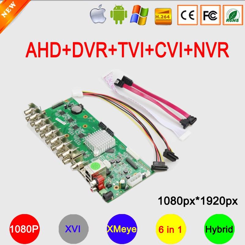 1080 จุด 16CH / 8CH / 4CH XMeye APP C Oaxial 6 in 1 ไฮบริด C Oaxial XVI AHD TVI CVI DVR NVR เมนบอร์ดจัดส่งฟรี