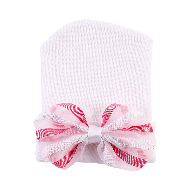 Bowknot Baby Beanie Hat Newborn Photography Props Striped Hat For Newborn Girls Cotton Knitted Beanie Clothing For Newborn Girls