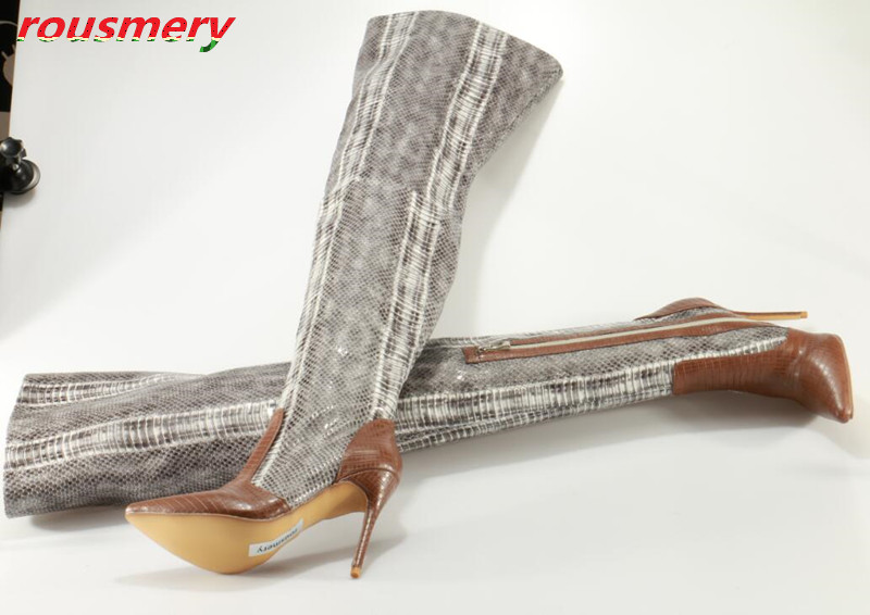 Rousmery New 2017 Sexy Pointed Toe Stiletto High Heels Dress Shoes Woman Zipper Over-the-knee Boots Snakeskin Thigh High Boots hot runway sexy women boots stretch silk pointed toe stiletto high heels over the knee boots jersey thigh high boots shoes woman