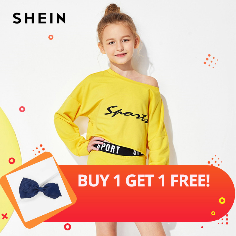 SHEIN Yellow Letter Print Top And Skirt Set Child Cute Casual Girls Clothes 2019 Spring Korean Fashion Long Sleeve Kids Clothing
