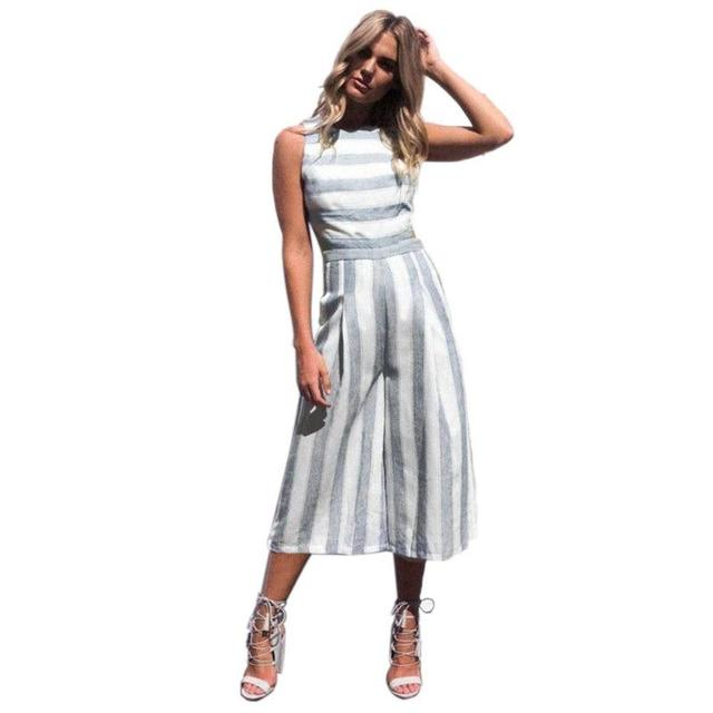 Women Sexy Jumpsuit Summer Fashion Casual Striped Loose Sleeveless Halter Slim Jumpsuit Ladies Bodycon Jumpsuit Beach Cloth