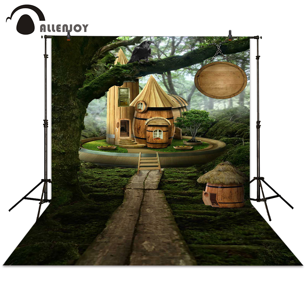 Allenjoy background photography cartoon cabin forest path fairy tale backdrops photocall photographic photo studio midi dj контроллер behringer cmd studio 4a