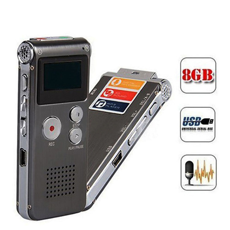 New8GB Digital Audio Voice Recorder Rechargeable Dictaphone Telephone MP3+Earphone+Cables Player Free Shipping&Wholesales NOA28