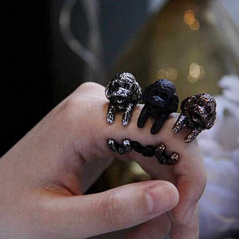 Antique Silver Vintage Animal Wrap Ring Handmade Black/Bronze Poodle Dog Ring