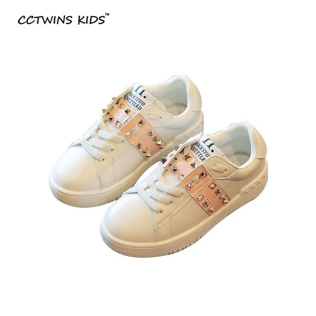 CCTWINS NIÑOS primavera autunm chico marca studed entrenador de zapatos para niños de la manera de la pu de cuero blanco niña zapatilla informal F1187