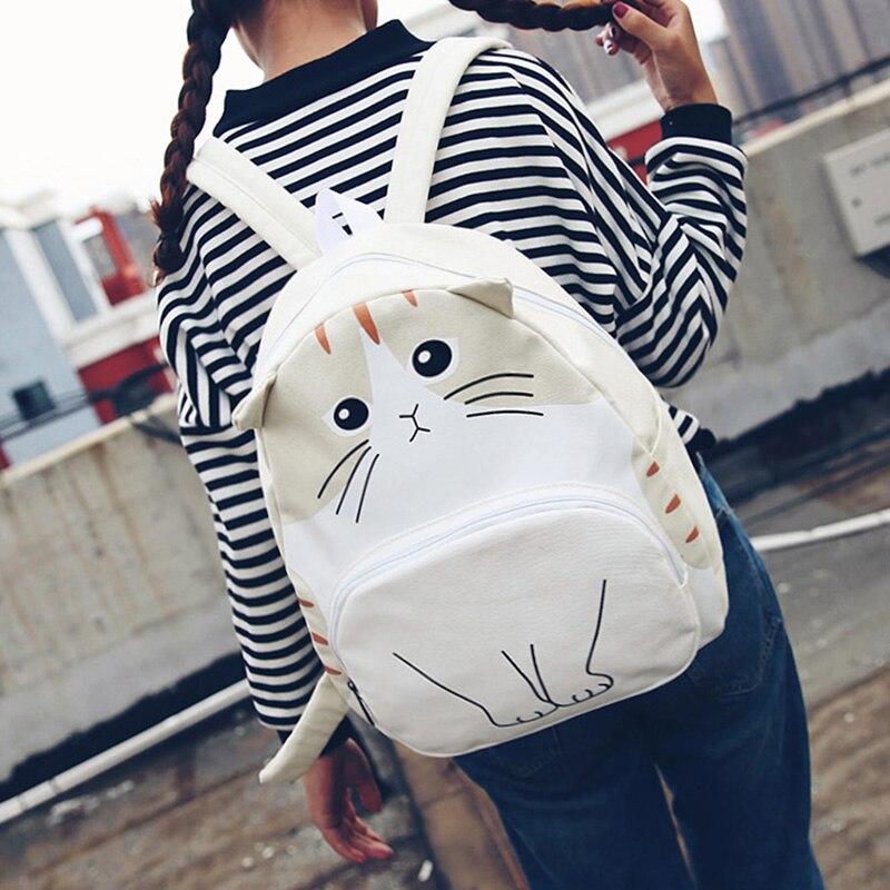 cartoon cat fashion women backpacks new preppy style casual school bags canvas cute Funny print Korea