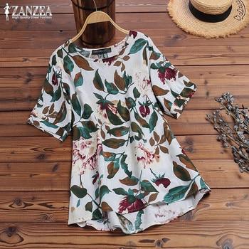 ZANZEA 2020 Vintage Printed Tops Women's Summer Blouse Bohemian Floral Blusas Female O Neck Asymmetrical Tunic Plus Size Shirts sweetheart neck plus size asymmetrical top