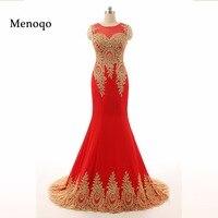 Gorgeous Sheer Neck Red Long Evening Dresses Vestido Longo Elegant Golden Appliques Lace Real Photo Mermaid