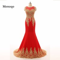 Gorgeous Sheer Neck Red Long Evening Dresses Vestido Longo Elegant Golden Appliques Lace Real Photo Mermaid