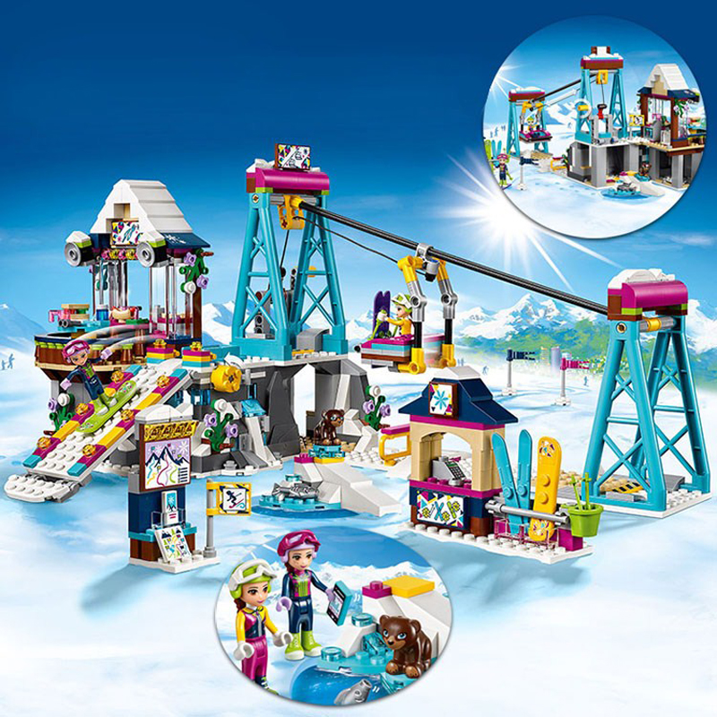 632pcs Lepin Friends Building Blocks Snow Resrot Ski Lift girls toys Bricks gifts Compatible With Legoingly 41324 For Children