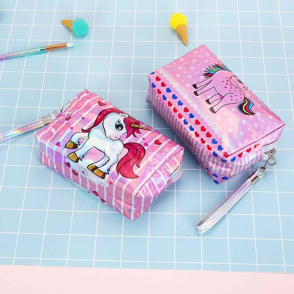 Cute Flamingo Unicorns PVC Travel Cosmetic Cases Women Make Up Waterproof  Brush Case Toiletry Bag Large d89f187353cb