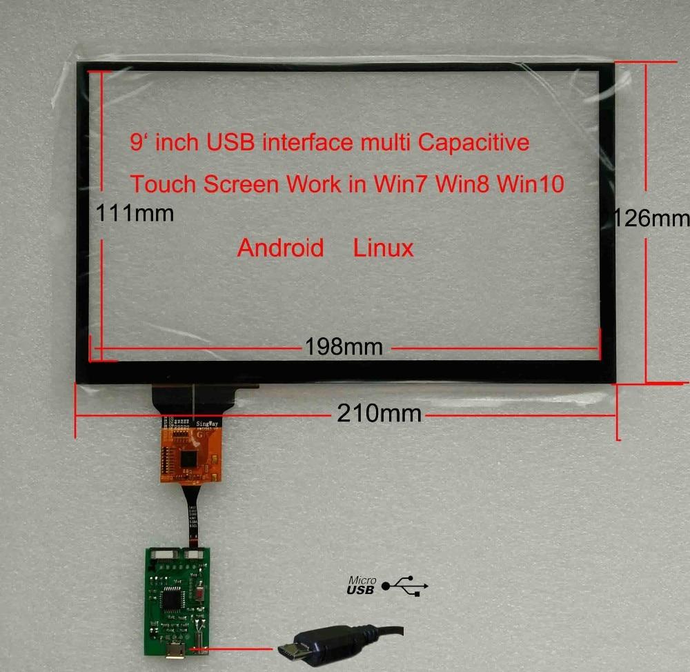 9 pouces carpc voiture bricolage usb interface écran tactile capacitif travail sur windows7 win8 win10 android