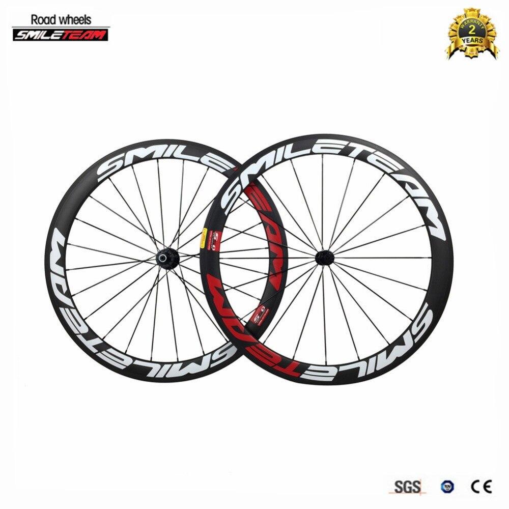 SmileTeam 700C 50mm Clincher Carbon Road Bike Wheels 23mm