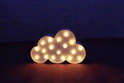 Białe chmury LED Marquee znak świeci się w stylu Vintage metal noc światła lampy ścienne kryty Deration