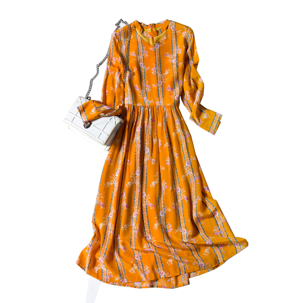Real Silk Woman Dress Casual Style Long Sleeve Woman Quality Silk Dress Striped Print A Line Female Summer Women Orange Dress