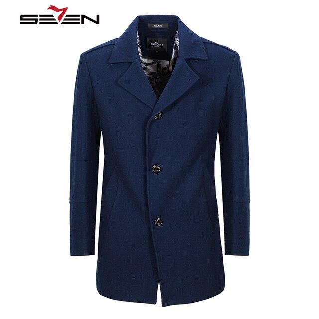 ec2a29e37f64c Seven7 Men's Wool Coats Winter Long Trench Cashmere Jacket Slim Male Overcoat  Royal Blue Woolen Coat Plus Size 4XL 5XL 707C17090