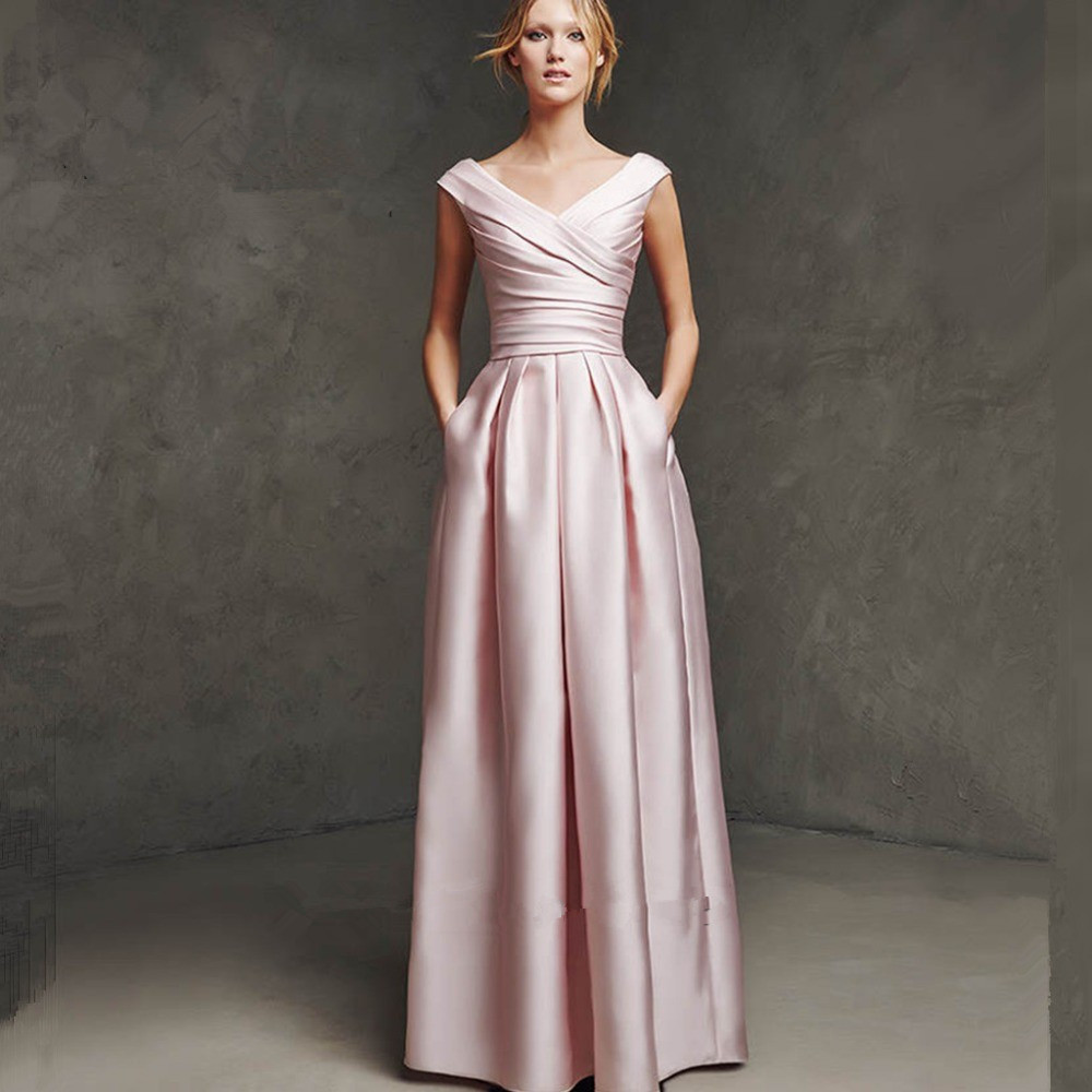 Robe de Soiree Courte Elegant Long Pink party gown 2018 Prom Abendkleider Vestido de Noche Formal Women   bridesmaid     dresses