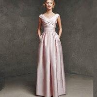Robe de Soiree Courte Elegant Long Pink party gown 2018 Prom Abendkleider Vestido de Noche Formal Women bridesmaid dresses