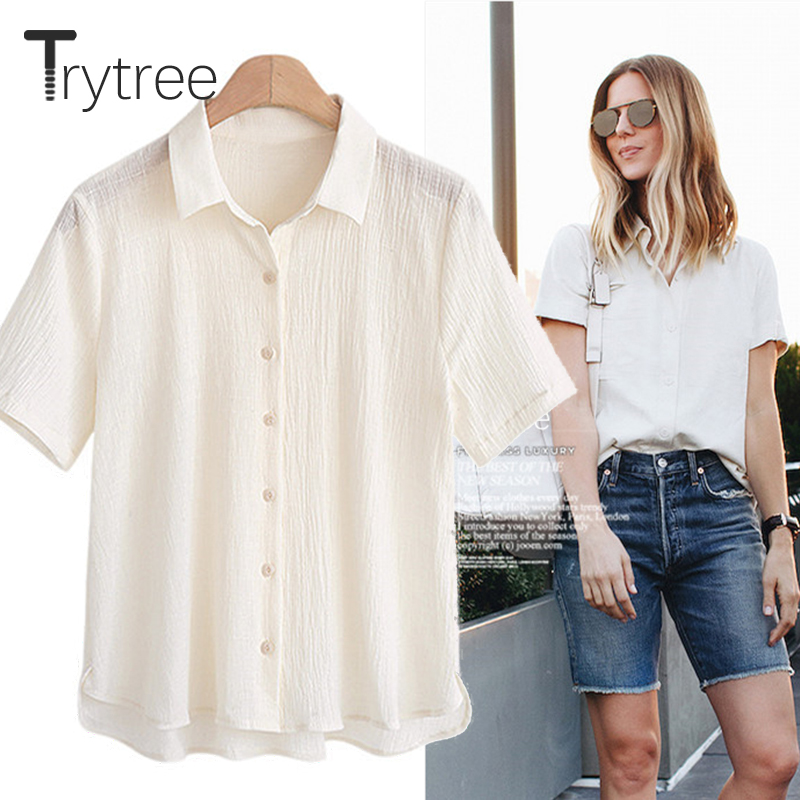Trytree 2018 Summer Women Blouse Casual Polyester shirt Turn-down Yellow White T