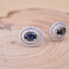 Traditional sterling silver sapphire earrings 100% pure blue sapphire stud earrings for lady actual 925 sterling vogue jewellery