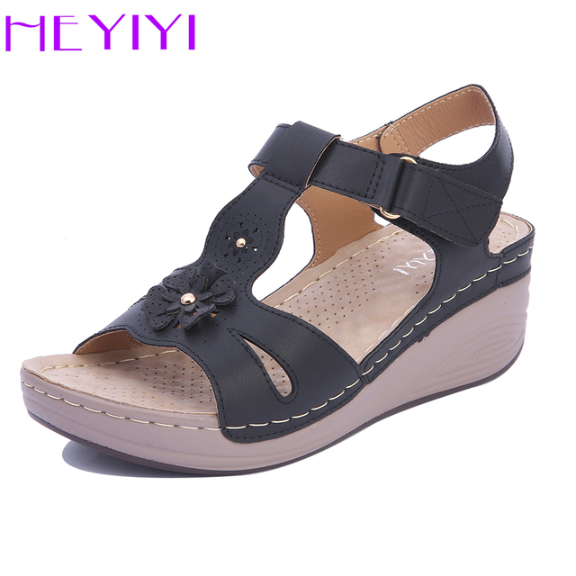 516eb952017 Wedges Shoes Women Sandals Platform Casual Soft Sole Narrow Band  Lightweight Comfortable Gladiator Summer Shoes Plus Size HEYIYI