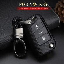 цена на KUKAKEY Car Key Case Cover For Volkswagen VW Golf 7 GTI R MK7 Tiguan Carbon Fiber Key Portect Case Car Accessories