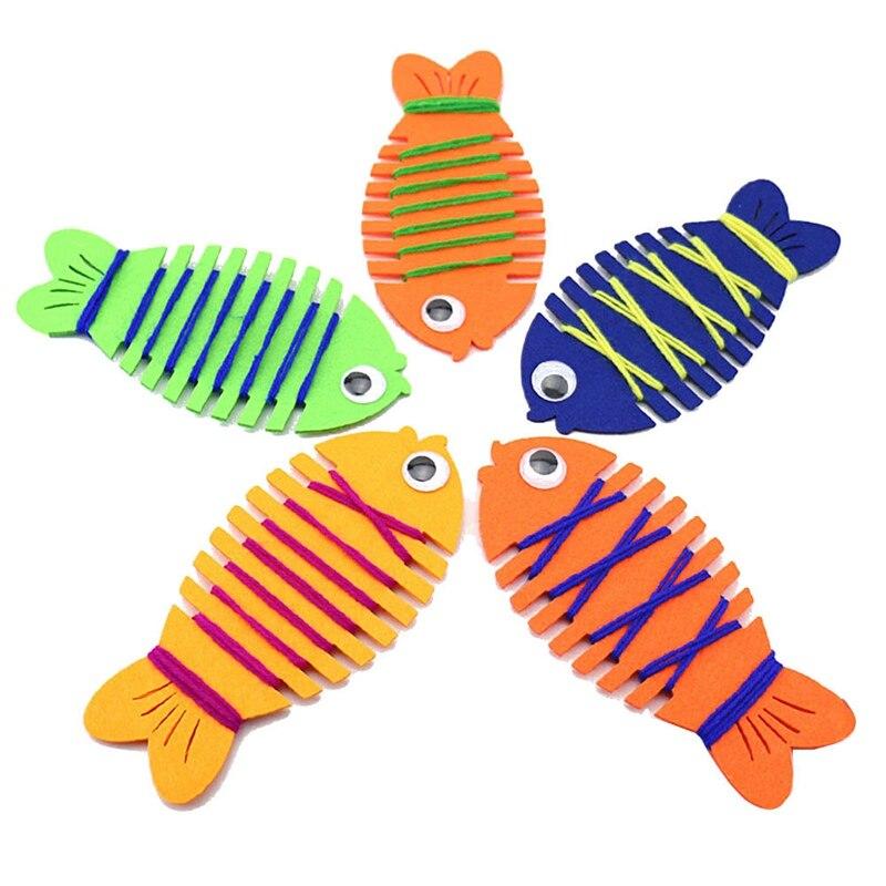 Детский сад завернутый Threading одежда линии рыба руководство игра-головоломка раннего обучения Образование игрушки учебные пособия Математи...