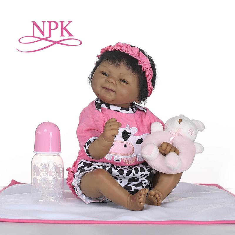 NPK lifelike reborn soft silicone real silicone reborn baby dolls black bebe hot toys Xtmas gift