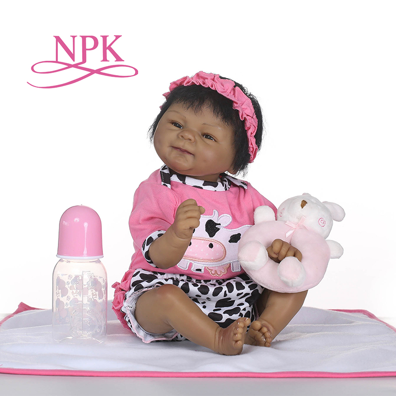 NPK lifelike reborn soft silicone real silicone reborn baby dolls black bebe hot toys Xtmas gift for girls best accompanyNPK lifelike reborn soft silicone real silicone reborn baby dolls black bebe hot toys Xtmas gift for girls best accompany