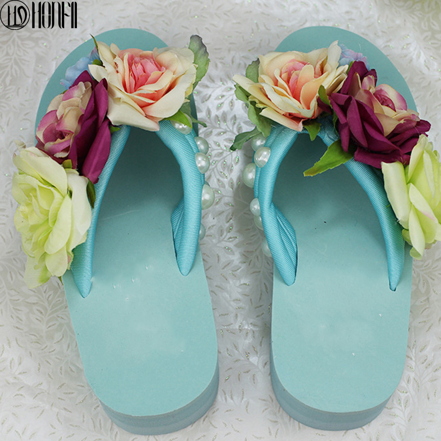 47dbac4931aa2 New arrival summer time fashion women handmade Flower flip flops women  casual comfortable wedges holiday candy color slippers-in Slippers from  Shoes on ...