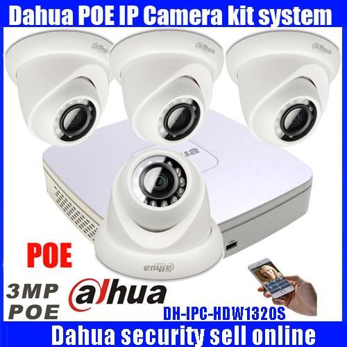 Dahua 4Ch 4 К POE безопасности NVR4104-P-4ks2 1080 P <font><b>HDMI</b></font> Выход Ночное видение ИК внутреннего/открытый Камера 3 мегапикселей smart телефон просмотра